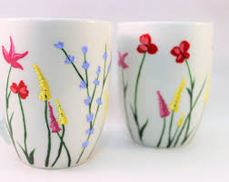 Wild flower coffee mugs, hand painted mugs with wild flowers, set of 2