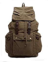 Hynes Eagle Retro Designer Canvas Backpack Large Rucksack 25 Liter Army  Green II