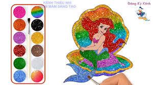 Bé học vẽ tranh tô màu nàng tiên cá và công chúa lọ lem ♥ Tìm hiểu màu sắc  nghệ thuật cho trẻ em - YouTube