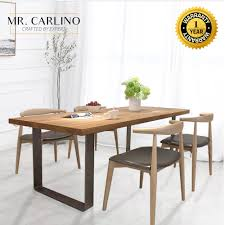 Qoo10 Burke 25cm Thick Solid Rubber Wood Dining Table Sets