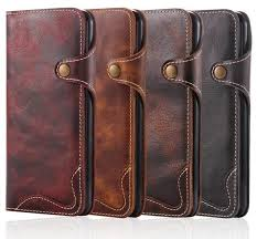 Genuine Leather <b>Retro</b> Flip Wallet Case With <b>Magnetic Buckle</b> Strap ...