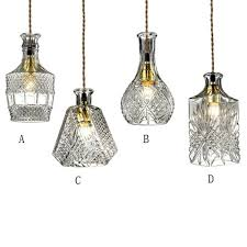 gloria vintage 1 light clear decanter bottle pendant light with adjule cable