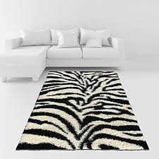 soft area rug 6 7 x 9 3 79 by 111 zebra animal print black ivory gy rug living bedroom kitchen modern gy rugs