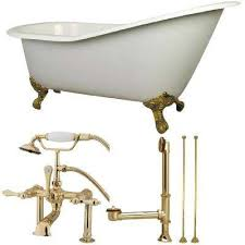cast iron clawfoot bathtub in white with faucet combo in polished brass