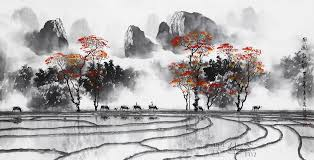 famous watercolor painting artist zhang quanzong traditional chinese landscape calligraphy paintings wall decoration living room in painting calligraphy