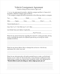 consignment form for cars consignment agreement form templates excel template