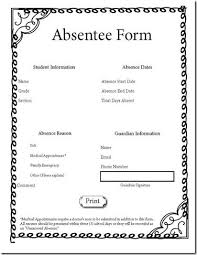 Absence Form Free Interactive Class Absence Form This Teacher Also Has A Good