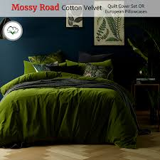 mossy road cotton velvet quilt cover set or eurocases queen king super king