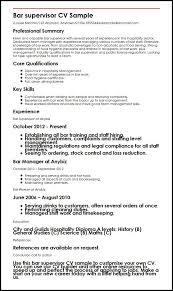 Sample Help Desk Supervisor Resume Bar Supervisor Cv Sample Myperfectcv
