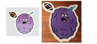 custom irregular shaped purple rug with football