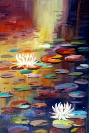 863x1280 lotus and pond handmade painting by samiran sarkar code acrylic lotus flower
