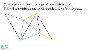 hard geometry problem unbelievably elegant solution mind  if we then connect the random point to the rotated random point we will end up the exact triangle we are looking for we will then solve for those