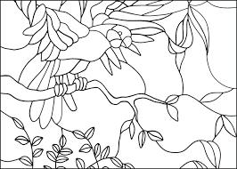 Mooie Kleurplaat Vogel Op Tak Glas In Lood Met Voorbeeld