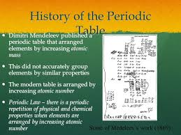 History of the Periodic Table Dimitri Mendeleev published a ...
