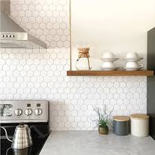 cool kitchen ideas. Hexagonal Shaped Backsplash For Cool Kitchen Ideas With Mid Century Home Decor And Floating Shelves T