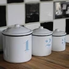 Retro Kitchen Storage Jars Set Of Three Retro Style Enamel Storage Jars By Ella James