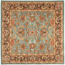 safavieh heritage collection hg812b handmade blue and brown wool square area rug