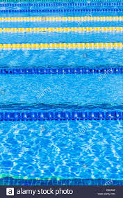 50m olympic outdoor pool corridor cables floating and calm water stock image
