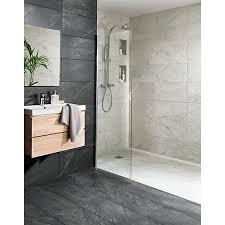bathroom tiles. Wickes Amaro Charcoal Porcelain Tile 615 X 308mm Bathroom Tiles