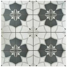 ... Patterned Ceramic Tile Geometric Tiles Uk With Unique Motive With Grey  And White Color ...