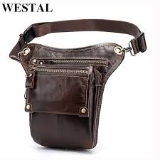 westal genuine leather leg bag in waist pack motorcycle pack belt bags phone pouch travel