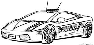 Free Download Police Car Lambourguini Sport Coloring Pages Printable