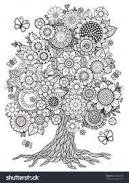 Small Picture Blossom Tree Coloring Book For Adult Doodles For Meditation