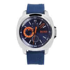men s 1513102 brisbane watch hugo boss orange blue silicone hugo boss brisbane