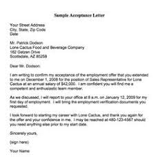acceptance of job offer letter job offer acceptance letter write a formal job acceptance letter