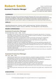 Production Manager Resumes Assistant Production Manager Resume Samples Qwikresume