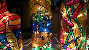 Painting Glass Lamps Carol Zs Recycled Bottle Lites Youtube