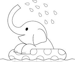 象さん水浴びイラスト白黒 夏休みのプリントや塗り絵に 可愛い