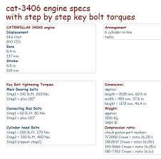 CAT 3406B PEEC engine specs, and bolt torques and manuals