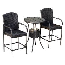 outsunny 3 piece outdoor patio rattan wicker bar stool bistro set w ice buckets rattan wicker