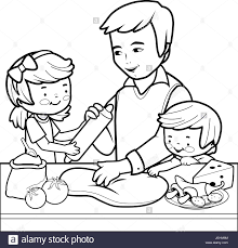 Small Picture Father and children cooking pizza in the kitchen Coloring page