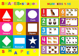 Number Chart For Toddlers 2 X Childrens Kids Chart Numbers 1 10 Basic Shapes A4 Size