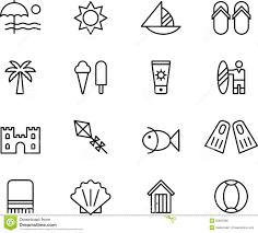 Summer Icons Beach And Summer Icons Stock Vector Illustration Of Outline