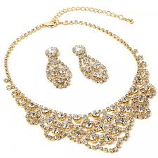 gold crystal rhinestone chandelier drop dangle earrings chandelier wave shaped necklace jewelry set