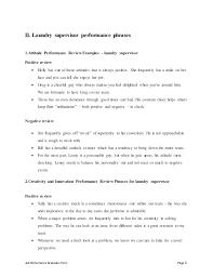 Laundry Supervisor Perfomance Appraisal 2