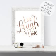 Live Gold Quotes Impressive Rose Gold Foil Print Printable Wall Art LIVE LAUGH LOVE Etsy