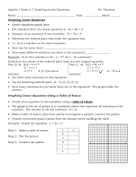 algebra 1 notes a 7 graphing linear equations name