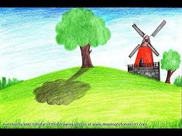 farm windmill drawing. How To Draw A Farm Windmill Landscape Step By - Very Easy Drawing