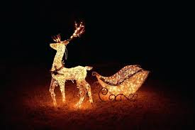 outdoor reindeer lights reindeer pulling sleigh both lighted as a display outdoor decoration lights outdoor reindeer lights