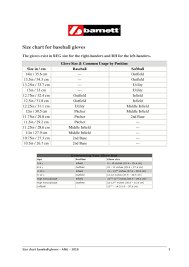 Glove Size Chart Softball Size Chart Baseball Gloves Ang By Barnett Issuu