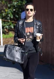 alessandra ambrosio black biker jacket leather black boots black sweatshirt waist