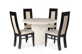 crema round marble dining table with 4 vettore dining chairs