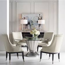 unger modern classic scalloped silver round glass top dining table kathy kuo home