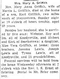 Obituary for Mary A. Griffith - Newspapers.com