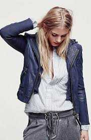 details about sold out free people doma sweater hooded leather moto biker jacket small 698
