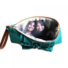 photo clutch rustic ruffle clutch birthday gift idea for best friend teal red purple and more